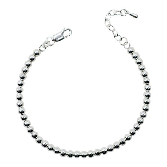 Sterling Silver 4mm Beaded Bracelet Only (150 Add-On Charm Options)
