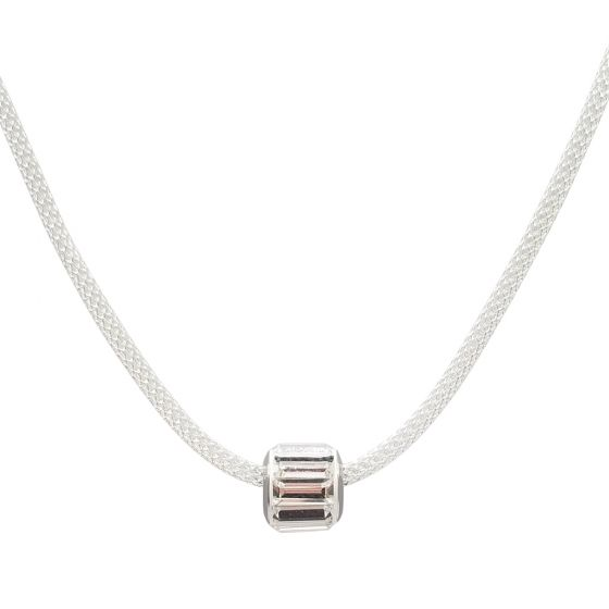 Sterling Silver Hollow Mesh Necklace (35+ Slide On Bead Options)