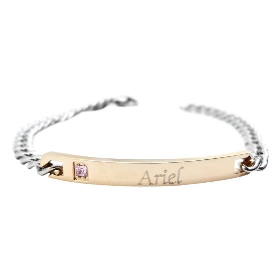 Womens Rose Gold Plaque Personalized Bracelet
