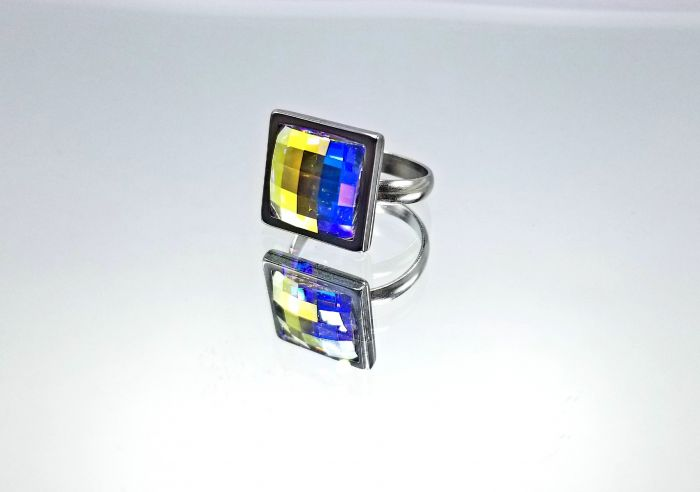 Square 12mm Crystal Chessboard Ring
