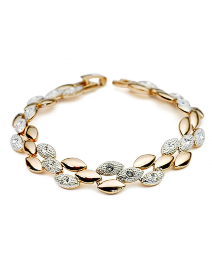 Two Tone Wheat Crystal Bracelet