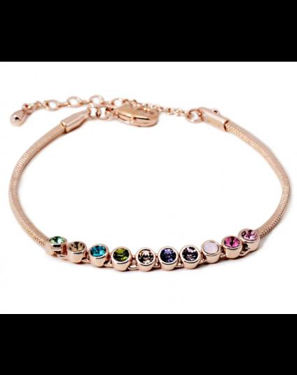 Multicolor Crystal Snakechain Bracelet