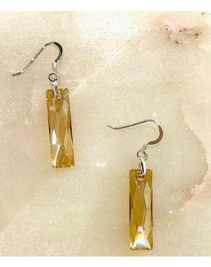 Slim Medium Baguette Crystal Earrings