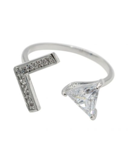 Triangle Arrow Cubic Zirconia Ring