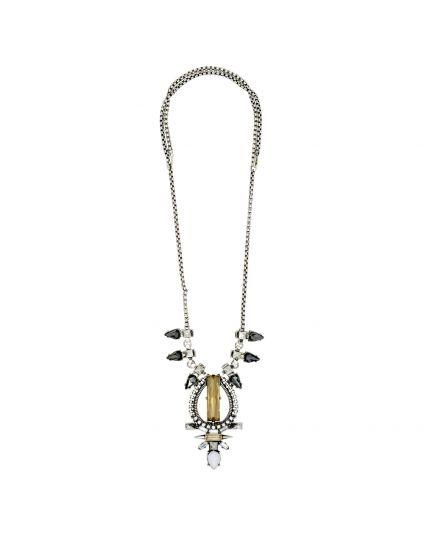 Antique Crystal Flower Statement Necklace