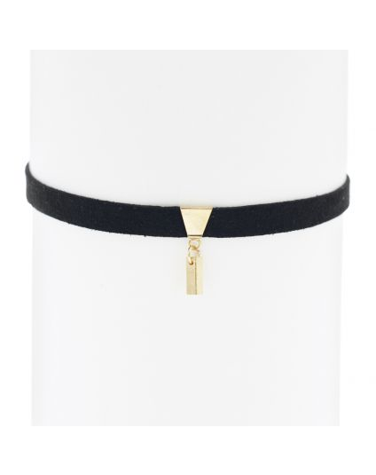 Velvet Gold Bar Dangle Choker