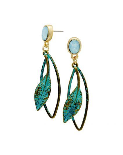 Antique Opal Leaf Earrings