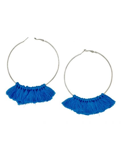 Large Hoop Tassle Earrings