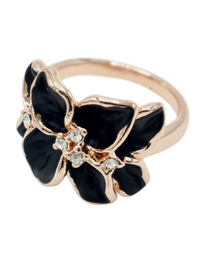 Rose Gold Crystal Flower Ring