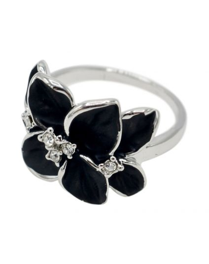 Platinum Crystal Flower Ring