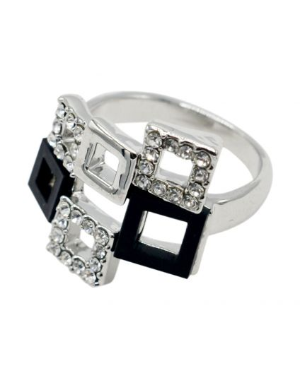 Platinum Multi Square Ring