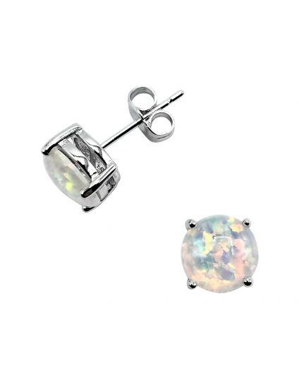 Sterling Silver Fire Opal Studs