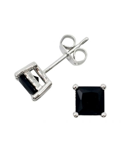 Unisex Square Black Crystal Studs