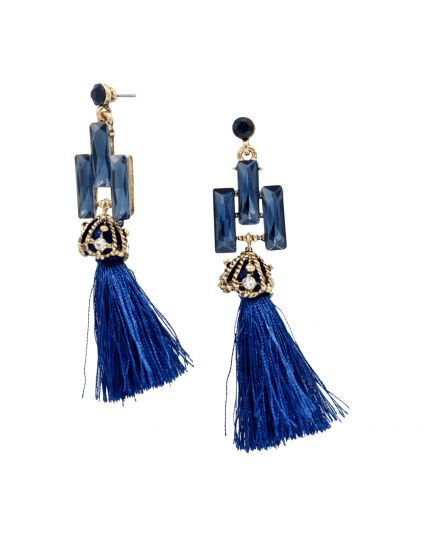 Geometric Crystal Tassle Earrings