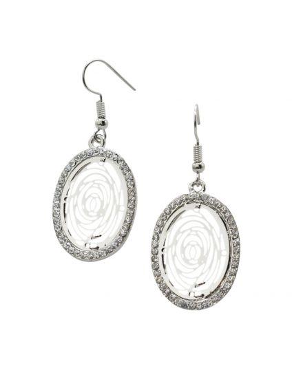 Oval Nest Crystal Earrings