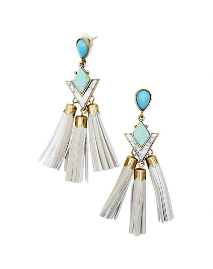 Geometric Stone Tassle Earrings