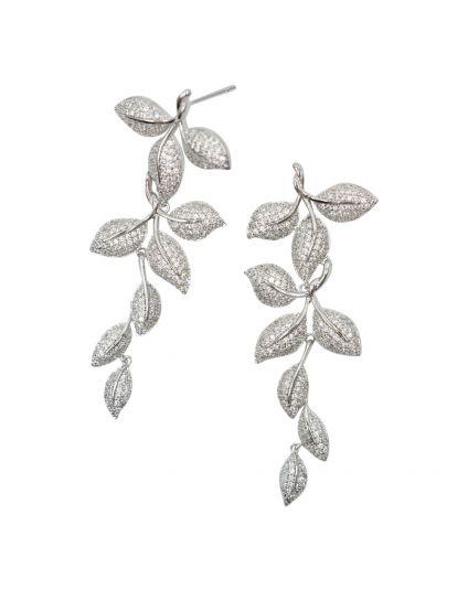 Elegant Crystal Leaf Earrings