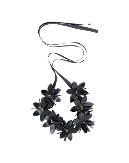Black Acrylic Flower Necklace