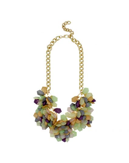Pastel Cluster Statement Necklace