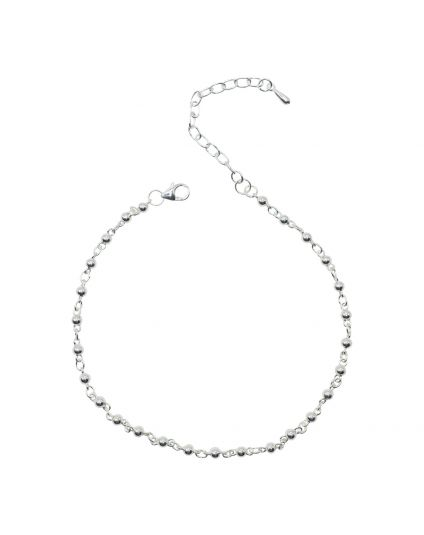 Sterling Silver 3mm Ball Link Anklet Only (150 Add-On Charm Options)