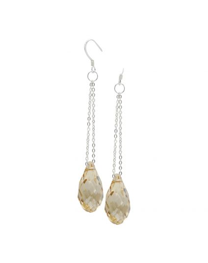 Long Briolette Crystal Earrings