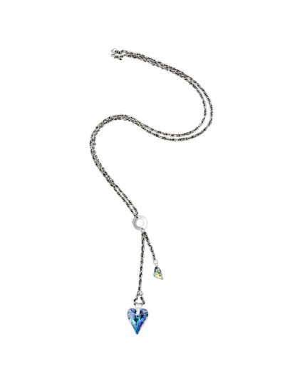 Long Double Wild Heart Crystal Necklace