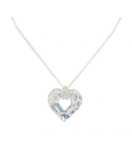 Hollow Heart Crystal Necklace
