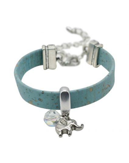 Turquoise Cork Charmed Bracelet