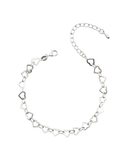 Sterling Silver Heart Linked Bracelet Only (150 Add-On Charm Options)