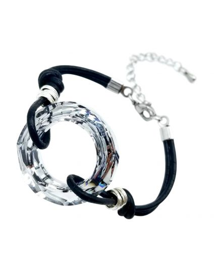 Large Cosmic Ring Leather Bracelet