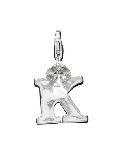 "Sterling Silver Letter ""K"" Add-On Charm"
