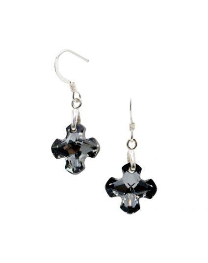 Small Greek Cross Crystal Earrings