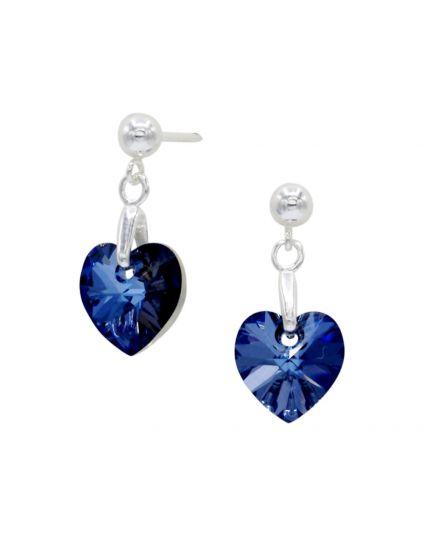 Tiny Crystal Heart Drop Studs