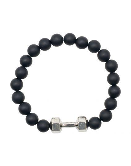 Matte Black Agate Dumbell Bracelet