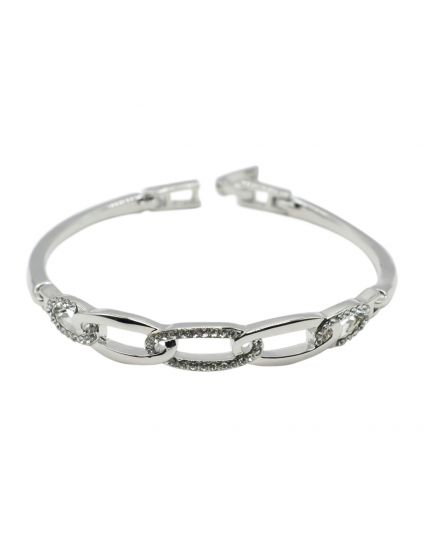 Oval Crystal Link Bangle