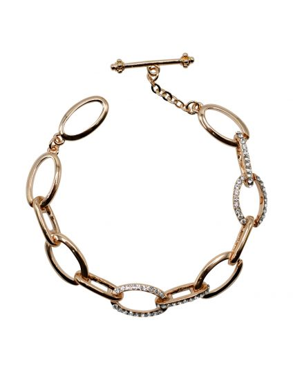 Oval Crystal Link Toggle Bracelet