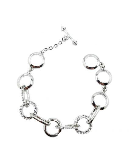 Round Link Crystal Toggle Bracelet