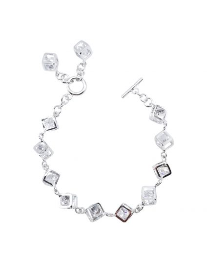 Multi Cube Cage Crystal Bracelet