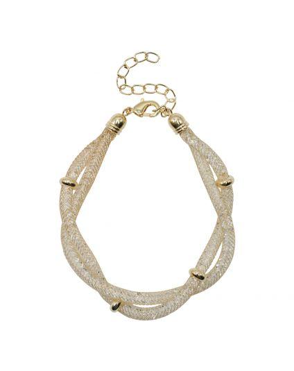 Intertwined Crystal Mesh Bracelet