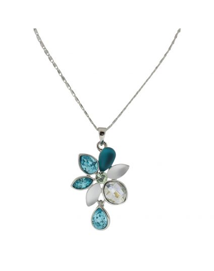 Multi Color Flower Crystal Necklace