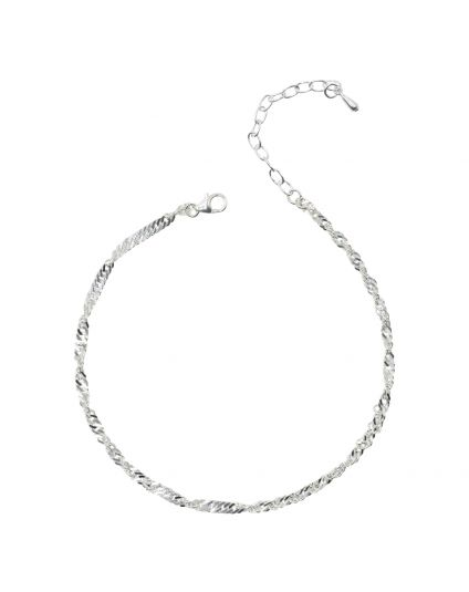 Sterling Silver Waterwave Anklet Only (150 Add-On Charm Options)