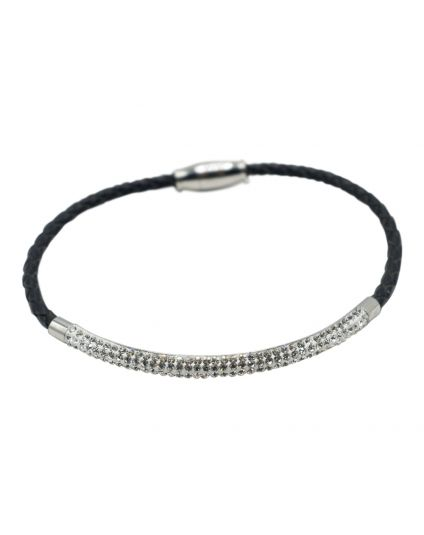 Leather Pave Tube Bracelet