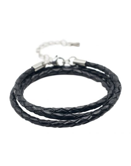 Braided Leather Triple Wrap Bracelet Only (35+ Slide On Bead Options)