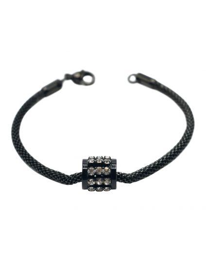 Black Crystal Barrel Slider Bracelet