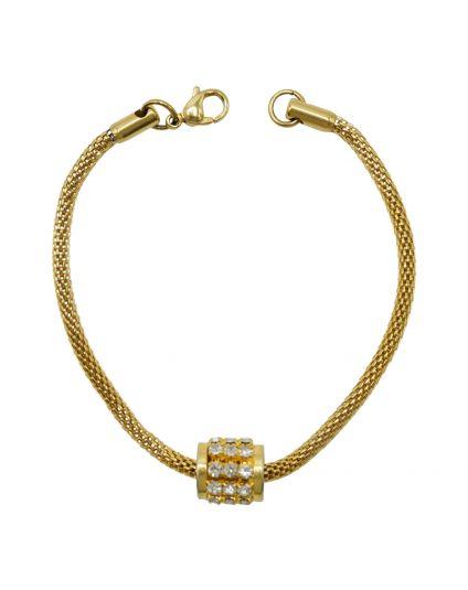 Gold Crystal Barrel Slider Bracelet