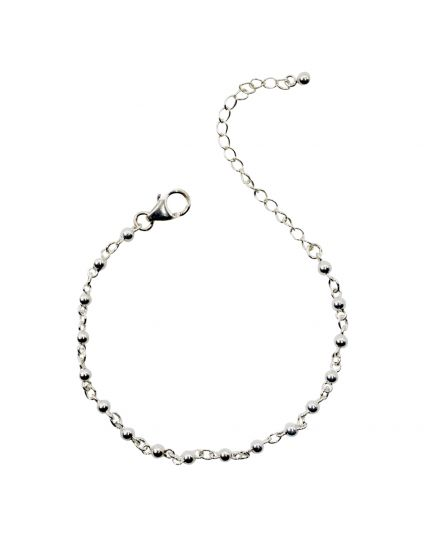 Sterling Silver 3mm Ball Link Bracelet Only (150 Add-On Charm Options)