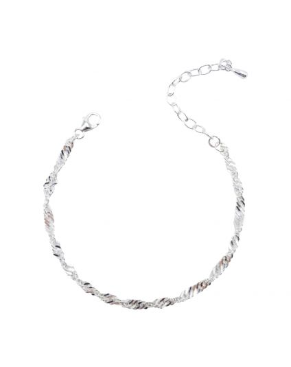 Sterling Silver Waterwave Chain Bracelet Only (150 Add-On Charm Options)