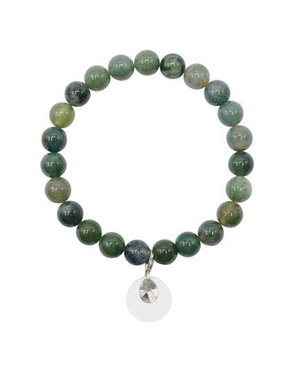 Green Agate Moss Stretch Bracelet