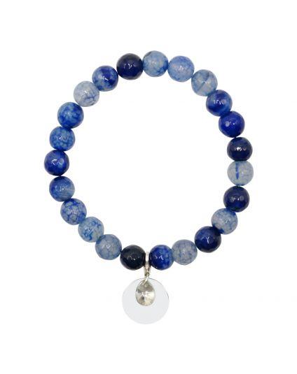Fire Agate - Dark Blue Stretch Bracelet