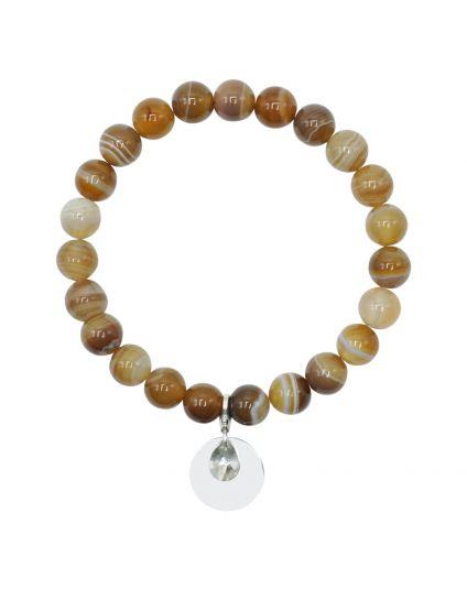 Agate - Brown Marble Stretch Bracelet